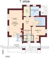 Планировка коттеджа 1 этаж